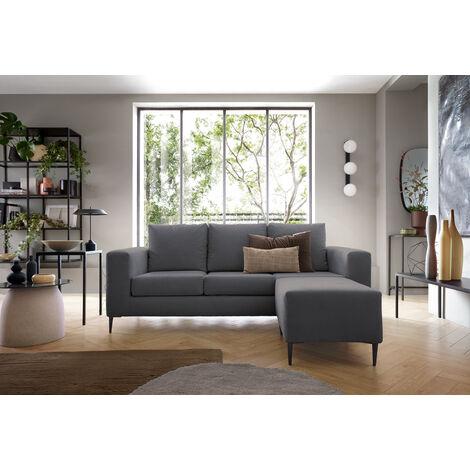 Capri Corner Sofa Dark Grey - Right - color Grey