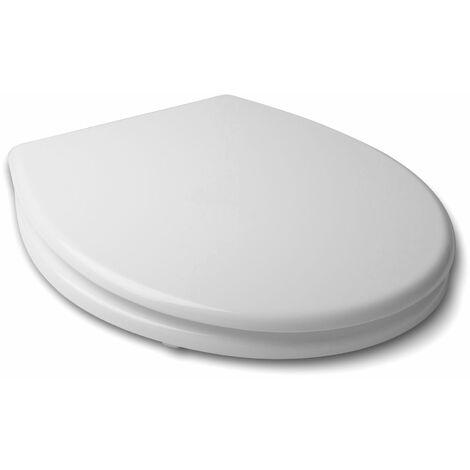 TATAY Asiento WC en MDF, material resistente y sólido. Blanco acabado brillante.