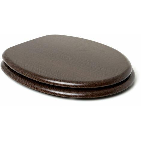 TATAY Asiento WC en MDF, con acabado efecto madera, resistente y sólido, de superficie lisa y facil mantenimiento.