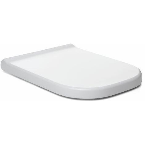 TATAY Asiento WC de caida controlada, diseño ligeramente cuadrado, fabricado en PP antibacterias, color blanco acabado brillante. Muy resistente a los impactos.