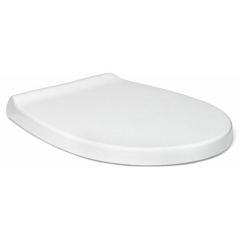 TATAY Asiento WC de caída controlada, diseño de formas redondeadas, fabricado en PP antibacterias, color blanco acabado brillante. Robusto, y muy resistente a los impactos.