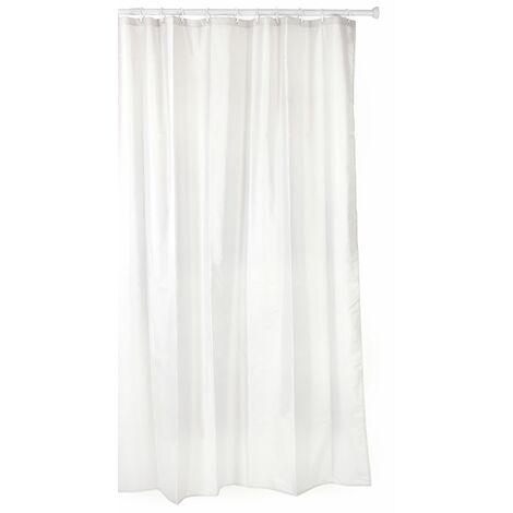 TATAY Cortina de baño de polyester hidrofugado, lavable, evita la humedad, en color blanco, acabado satinado. Incluye anillas