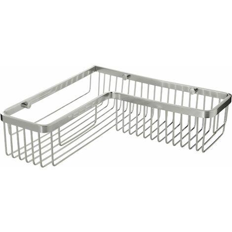 TATAY Cestillo Aluminium, de aluminio brillante, de diseño moderno, rectangular rinconero, perfecto para optimizar espacio. Doble sistema de fijación, tornillos y Quick Fix sin taladrar