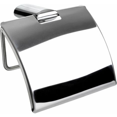 TATAY Portarrollos con tapa, de acero inox y zamack cromado, de soporte de líneas planas. Medidas 12,8x5x10,5 cm. Sistema de fijación con tornillos