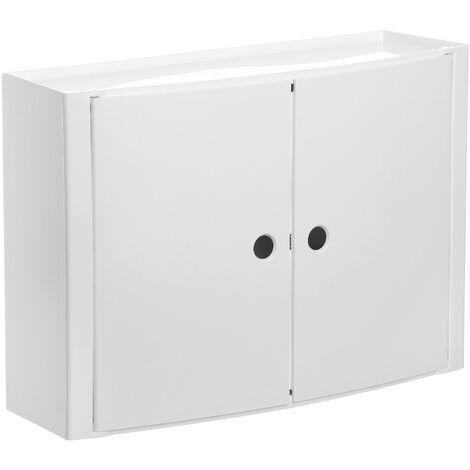 TATAY Armario plastico horizontal, color blanco, 2 puertas sin pomos, y estante interior removible.