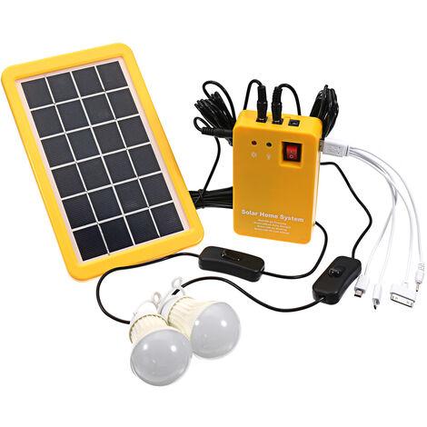 Kit de iluminación de panel solar, kit de sistema solar doméstico de CC, cargador solar 4 en 1 con 2 bombillas LED como luz de emergencia y cargador de teléfono móvil con generador de jardín al aire libre Banco de energía, para acampar Hasaki