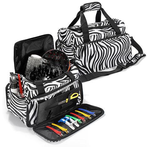 Large Capacity Makeup Zebra Bag Travel Salon Hair Tools Case Hairdressing Carry Case Diaper Duffle Bag Hasaki