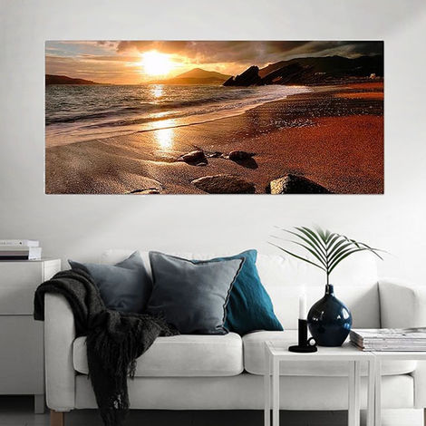 Table Painting On Canvas Sunset Wall Frameless Decor 120x50cm Hasaki