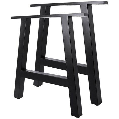 2pcs Metal Table Legs A-Shape Frame Stand Feet 40*35cm Black