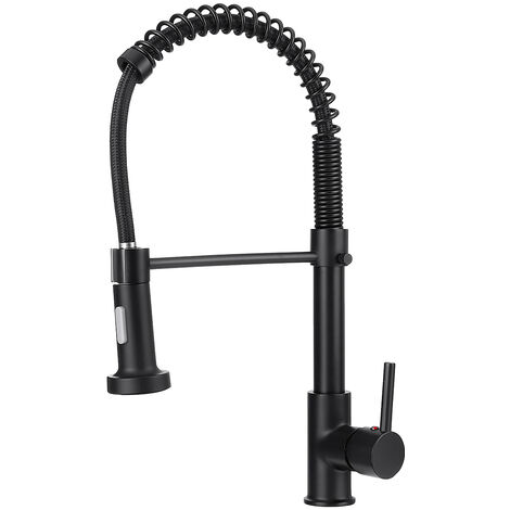 Kitchen Mixer Tap with Pull Out Spray Black