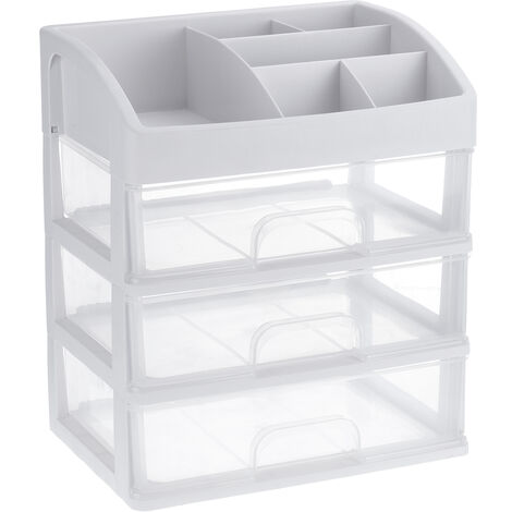 Plastic Cosmetic Makeup Drawer Organizer Storage Box Container Desktop Casket clear Big size 3 Layer