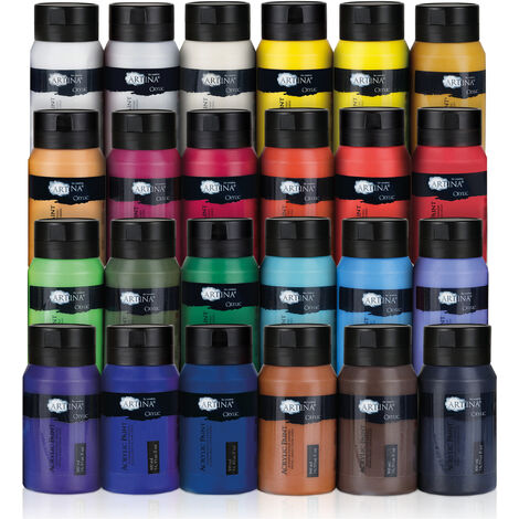 Pratico set di 24 colori acrilici assortiti di Artina, tubetti cad. da 500 ml