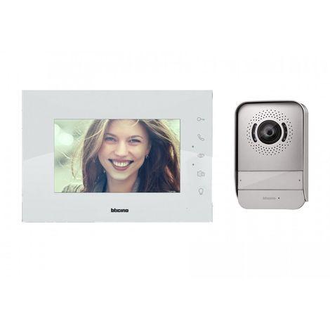 """Kit Videocitofono Bticino 317014 Bifamiliare 7"""" A Colori 2 Fili Bianco"""