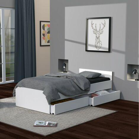 Lit KAPPA 90x190 + 2 tiroirs / Blanc/ 194x94x40 cm