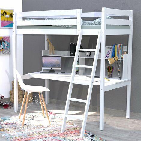 Lit mezzanine STUDIO 90x190 + 1 sommier + bureau + étagère / Blanc/ L199xP151xH194
