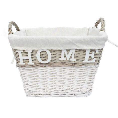 Shabby Chic White Wicker Storage Home Log Hamper Laundry Basket With Handles