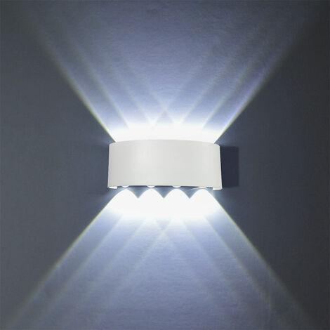 LED Modern Wandleuchte Außen Innen 8W Kaltweiß Wandlampe Licht Up Down Leuchten Aluminium Wandlicht Wasserdichte Außenleuchte Wand Wandbeleuchtung für Wohnzimmer Schlafzimmer Treppenhaus Flur Kaltweiß