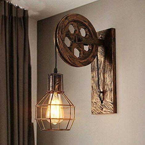 Wandleuchte E27 Vintage Wandlampe Retro Dimmbar Wandbeleuchtung Kreative Beleutung Lampeschirm aus Eisen für Treppenhaus Flur Cafe Bar Restaurant Hotel (Bronze)