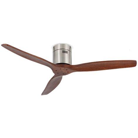 SKYLER - Ventilateur de plafond en bois sans lumière moteur DC Ø 132 cm