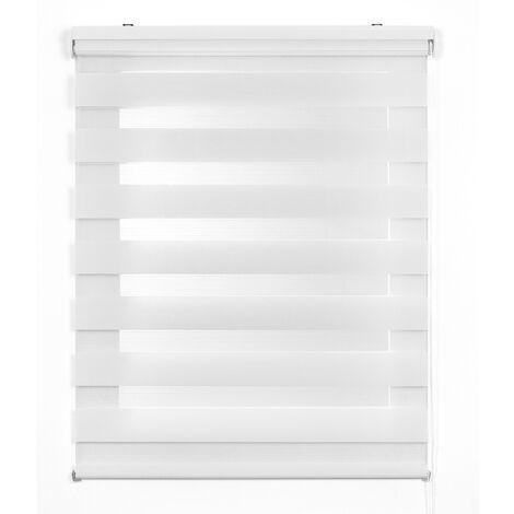 Store Zébré Jour Nuit, store enrouleur, Blanc, 100 x 180 cm