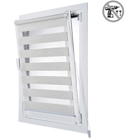 Store Enrouleur Tamisant EasyFix, installation facile sans perçage,Lin, 75x180cm