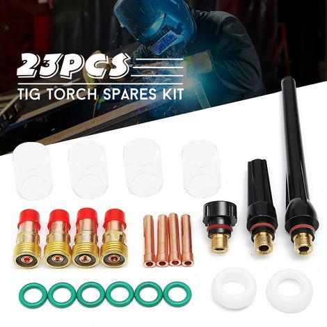 23 PCS TIG Alicates de antorcha de soldadura Boquilla de lente de gas Kit de piezas de vasos de vidrio Pyrex para SP WP-17/18/26 Sasicare