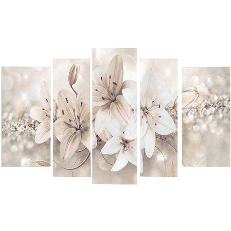 5 piezas abstractas modernas flores lienzo impresión pintura colgante arte decoración sin marco Sasicare