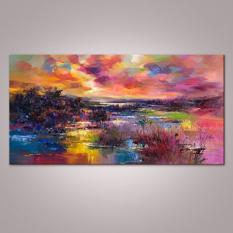 Oil Painting Painted At The River Of Nature Unframed Abstract Art On Canvas