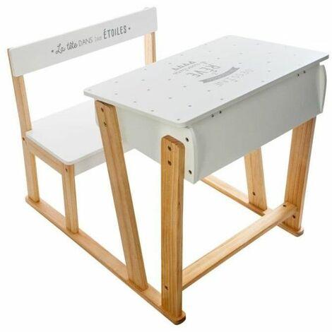 Pupitre d'écriture en bois avec assise et bureau - Blanc - Meuble pour enfant - Livraison gratuite