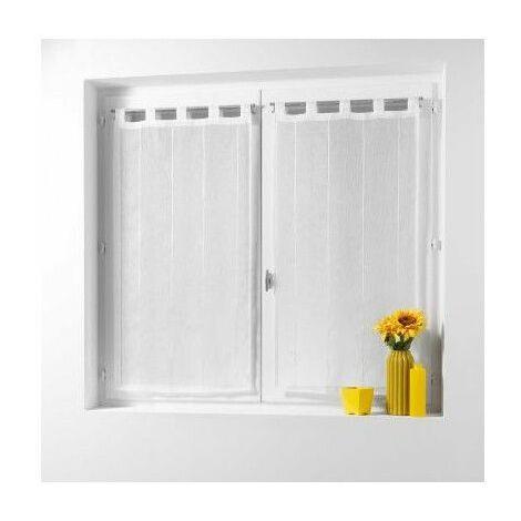 Paire de voilage à passants - 45 x 90 cm - Linahe - Blanc - Livraison gratuite