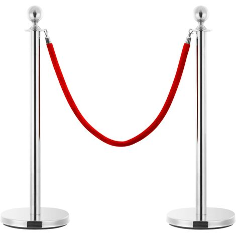 Stanchion Stand Rope Red and Silver Velvet