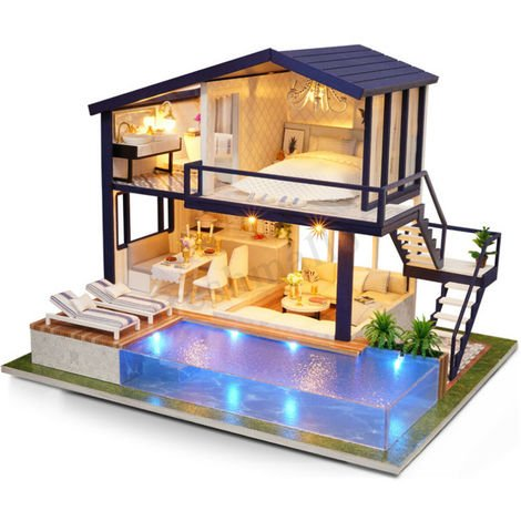 DIY Artisanat Miniature Projet Kit en Bois Maison de Poupées Villa