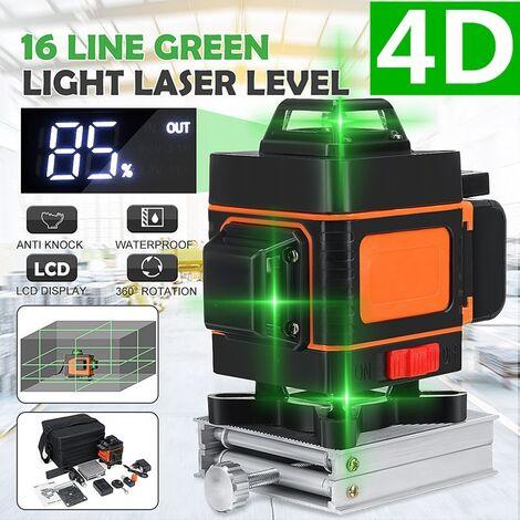 4D 360° Niveau laser 16 Ligne auto-nivellement transversale verticale horizontale 1.2M 808NM étanche avec télécommande