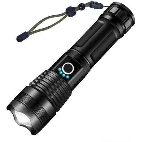 Torche Lampe de Poche, LED USB Rechargeable Ultra Puissante 3000 Lumens CREE XHP50 Lampe Torche, 5 Modes IP65 Étanche Militaire Zoomable pour Camping Randonnée(18650 Pile Rechargeable Incluse)