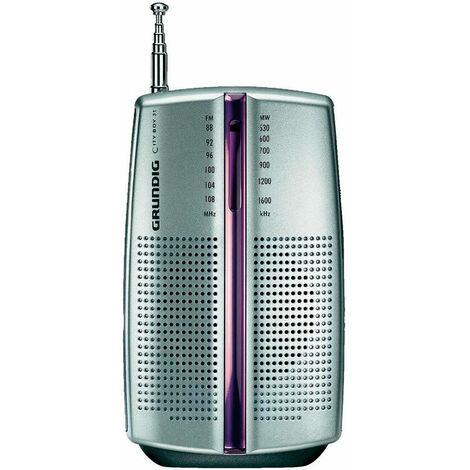 Grundig city 31 argent radio am/fm portable avec haut-parleur et écouteurs.