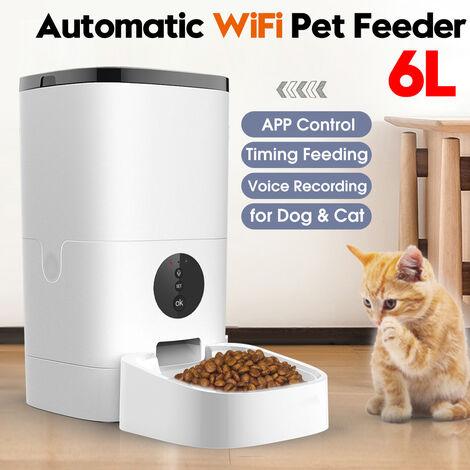 6L WIFI Automatique Distributeur Croquettes Nourriture Chien Chat Enregistrement Gamelle Animal de compagnie APP Controle EU prise