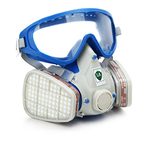 Masque Complète à Gaz Respirateur & Lunettes Filtrage Protection Peintre Chimique Anti Poussière Silicone