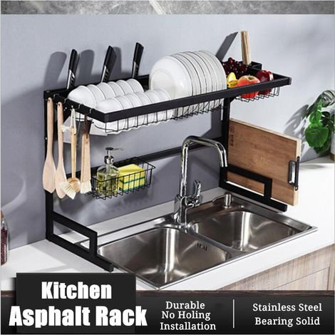 2 Tier Sink Dish Drying Rack Organizer Draining On Stainless Steel
