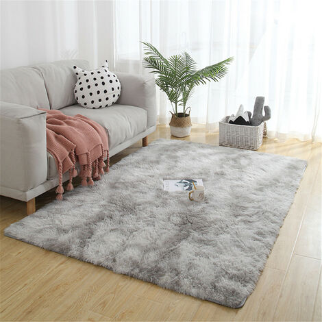 Large Soft Shaggy Carpet 50mm Thick For Living Room European Home Warm Plush Floor Rugs Fluffy Mats Kids Room Faux Fur Area Rug Mat lightgrey 140x230cm