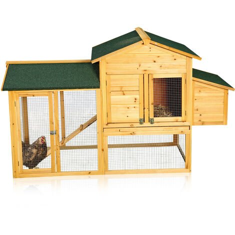 Melko chicken house with outlet for 4-6 chickens Chicken house 168x75x103 cm Chicken house Chicken aviaries incl. nesting box with lid holder, weatherproof impregnated