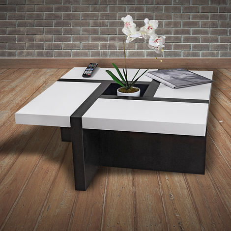 Melko coffee table living room table white/black, 80x80x35 cm, side table designer table wood