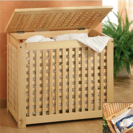 Wooden laundry basket 46x46x60 cm