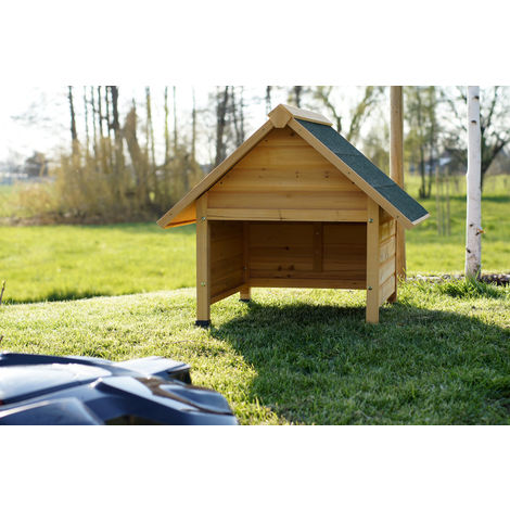 Garage for robotic lawnmowers, solid wood, pointed roof