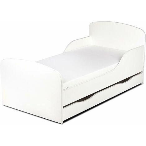 Letto per bambini in legno con cassetto e materasso Dimensioni:140x70 colore bianco