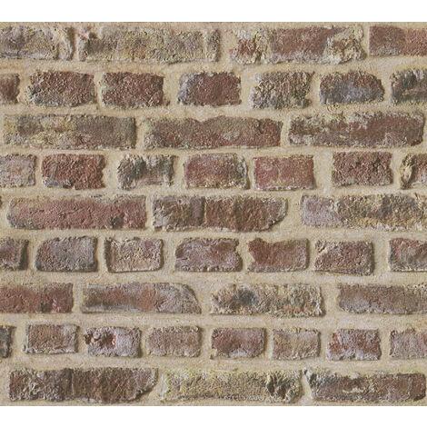 Papier peint brique imitation beige brun rouge pour la cuisine chambre salon 302191 Lutèce Authentic Walls