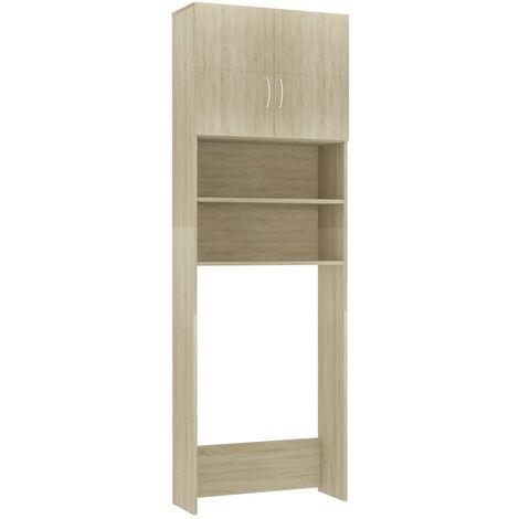 vidaXL Meuble pour Machine à Laver 64x25,5x190 cm Aggloméré Blanc Brillant - Blanc
