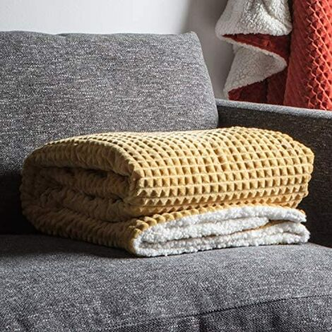 Cubic Embossed Sherpa Throw Ochre 1520x1770mm