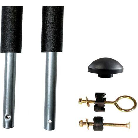 Un poteau de filet de sécurité Ø25mm pour trampolines de jardin RALLI avec mousse et visserie (longeur totale 208.5cm) - Noir