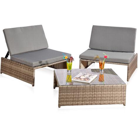 Des sièges + 2 fauteuils + table, salon de jardin, mobilier de jardin, lounge poly-rotin en gris et rotin