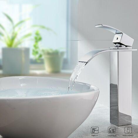 Wasserhahn Bad Hoch Armatur Wasserfall Mischbatterie Wasserfallwaschbecken Mischbatterie für Badezimmerwaschbecken